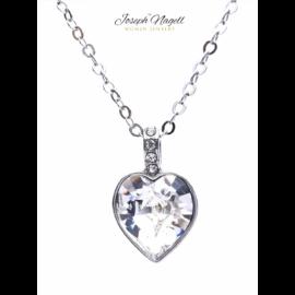 Gyémántszív nyaklánc kristály színű kristállyal