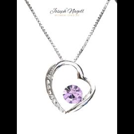 Szív ragyogása nyaklánc lila kristállyal