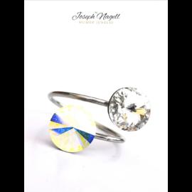 Gyűrű rivoli kristály-sarkifény színű Swarovski kristállyal