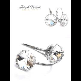 Gyűrű szett kapcsos fülbevalóval kristály színű Swarovski kristállyal