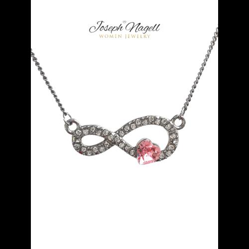 Örök szerelem nyaklánc rózsaszín kristállyal