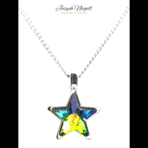 Csillag nyaklánc zöldszínjátszó Swarovski kristállyal