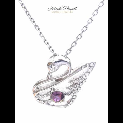 Hattyú strasszos nyaklánc lila színű kristállyal