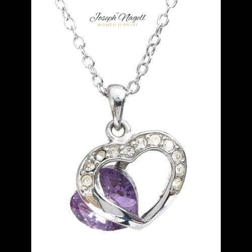 Kiugró szív nyaklánc lila kristállyal