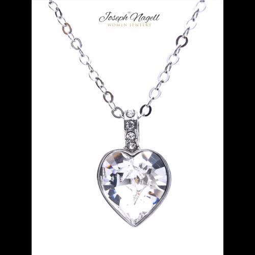 Gyémántszív nyaklánc kristály színű Swarovski kristállyal