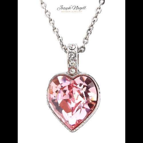 Gyémántszív nyaklánc rózsaszín Swarovski kristállyal