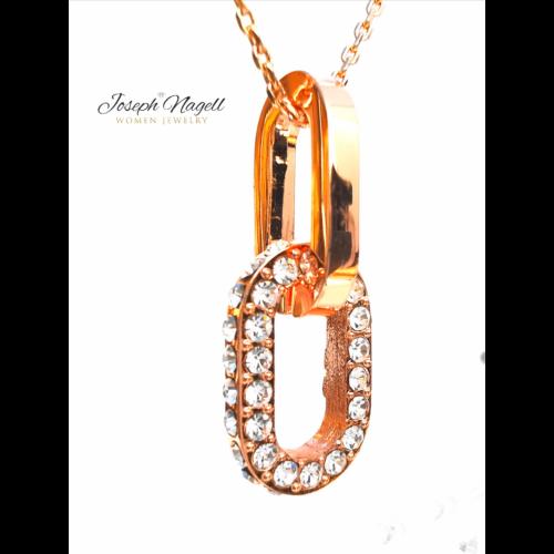 Lebilincselő szerelem nyaklánc rosegold színű Swarovski kristállyal