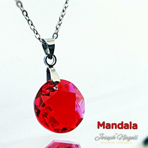 Mandala nyaklánc piros Swarovski kristállyal