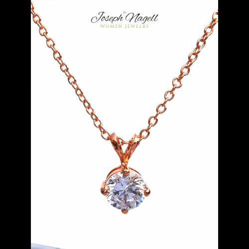 Pötty nyaklánc rosegold, kristály színű kristállyal