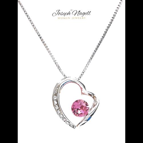 Szív ragyogása nyaklánc rózsaszín kristállyal