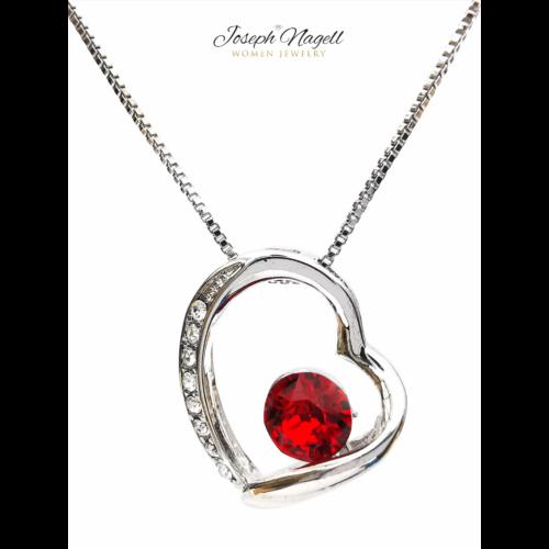 Szív ragyogása nyaklánc rubin színű kristállyal