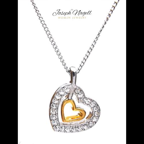 Szívben szív nyaklánc aranyozott kristály színű kristállyal