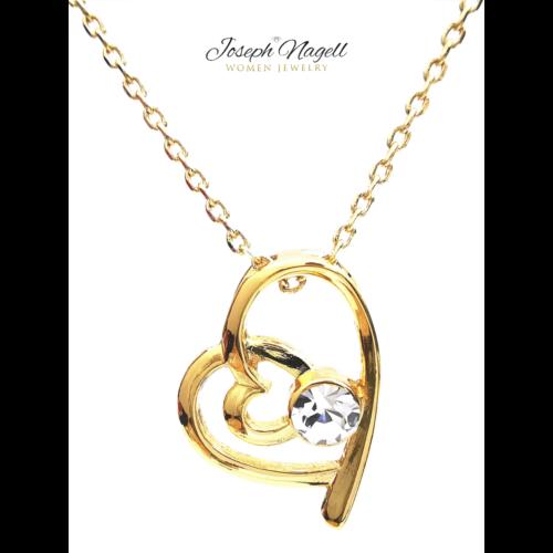 Szívek találkozása nyaklánc arannyal bevonva kristály színű kristállyal