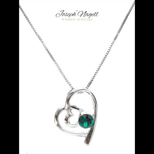 Szívek találkozása nyaklánc smaragdzöld kristállyal