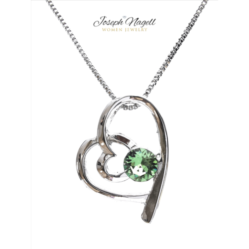Szívek találkozása nyaklánc zöld Swarovski kristállyal