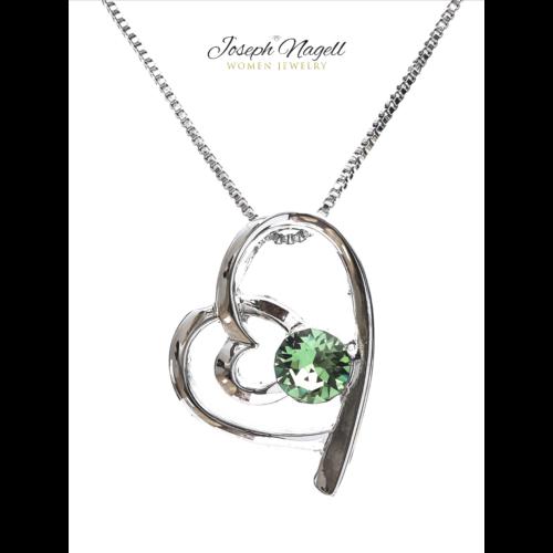 Szívek találkozása nyaklánc zöld kristállyal