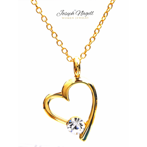 Szívemcsücske nyaklánc arannyal bevonva kristály színű kristállyal