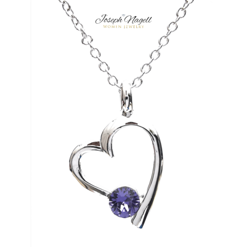 Szívemcsücske nyaklánc lila színű kristállyal