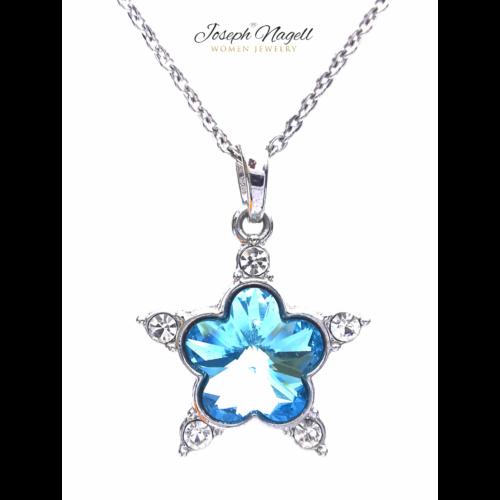 Virágkristály nyaklánc világoskék Swarovski kristállyal