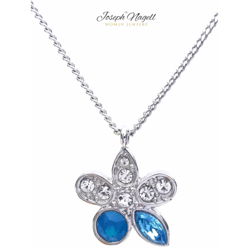 Virágocska nyaklánc kék Swarovski kristállyal