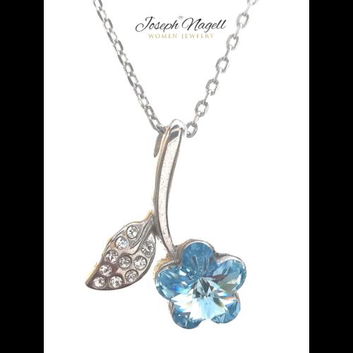 Virágszál nyaklánc világoskék kristállyal