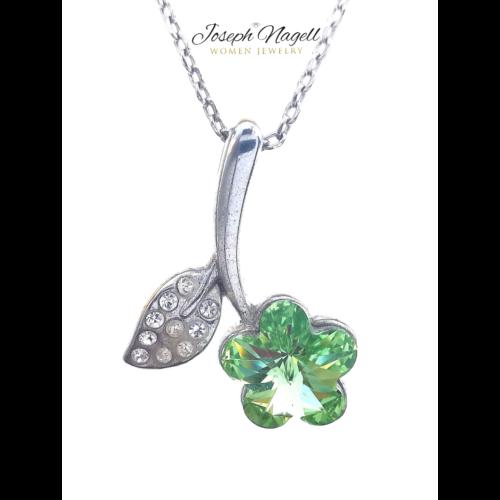 Virágszál nyaklánc zöld Swarovski kristállyal