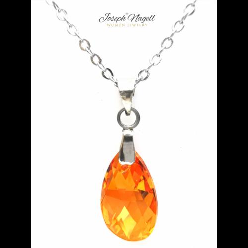 Drop nyaklánc narancs színű Swarovski kristállyal