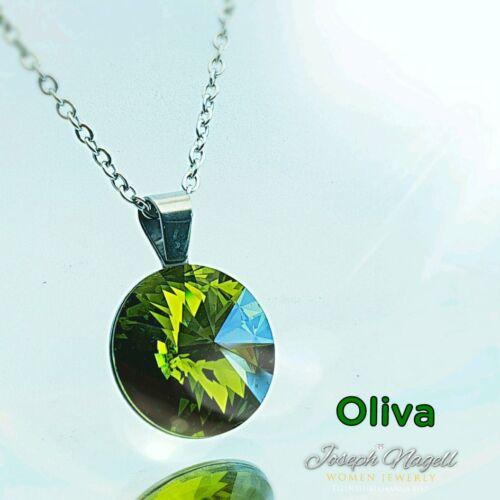 Rivoli nyaklánc 14mm olivazöld színű Swarovski kristállyal