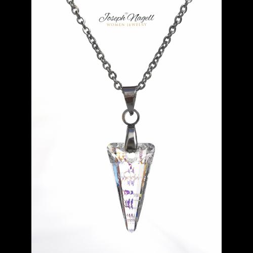 Nyílhegy nyaklánc szivárványpatina színű Swarovski kristállyal