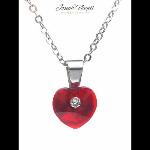 Szív pöttyel nyaklánc rubin színű Swarovski kristállyal