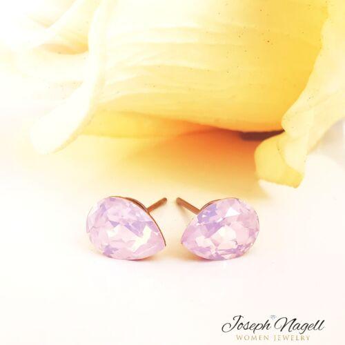 Csepp fülbevaló 8mm opál rózsaszín Swarovski kristállyal