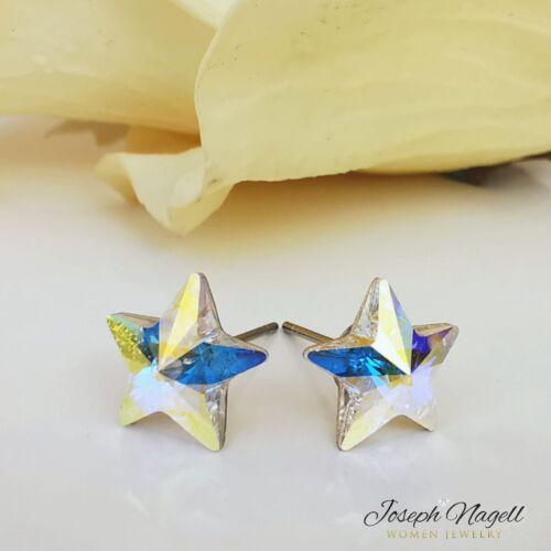 Csillag fülbevaló sarkifény színű Swarovski kristállyal