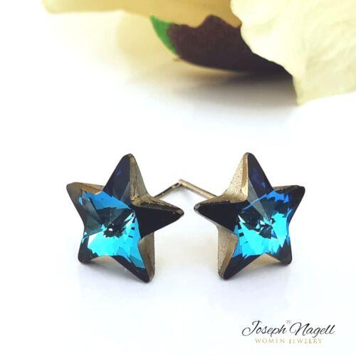 Csillag fülbevaló tengerkék Swarovski kristállyal