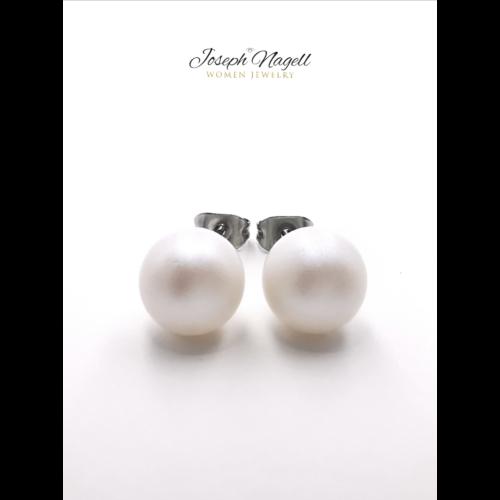 Gyöngy fülbevaló fehér Swarovski kerámia gyönggyel