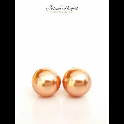 Gyöngy fülbevaló bronz színű Swarovski kerámia gyönggyel