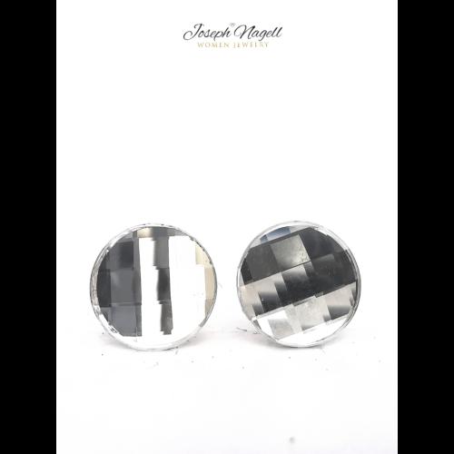 Kerek sakktábla fülbevaló 10mm kristály színű Swarovski kristállyal