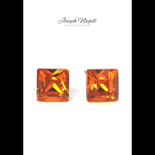 Négyzet alakú fülbevaló 6mm narancs színű Swarovski kristállyal