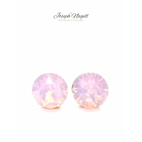 Pötty fülbevaló 6mm opál rózsaszín Swarovski kristállyal