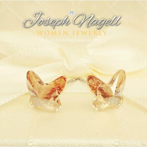 Pillangó fülbevaló arany színű Swarovski kristállyal