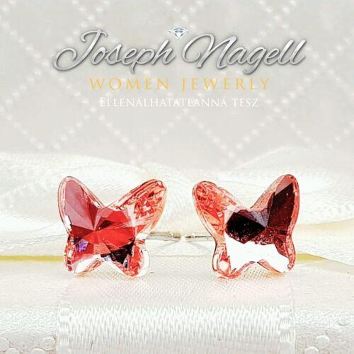 Pillangó fülbevaló rózsaszín Swarovski kristállyal