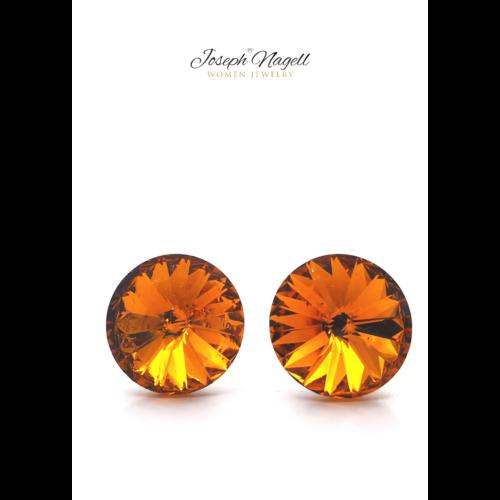 Rivoli fülbevaló 12mm narancs színű Swarovski kristállyal