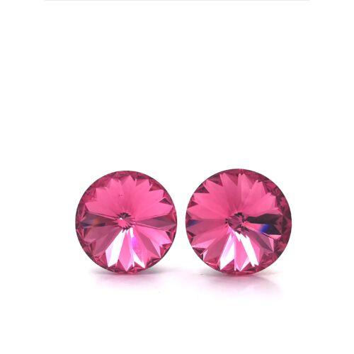 Rivoli fülbevaló 12mm rózsaszín Swarovski kristállyal