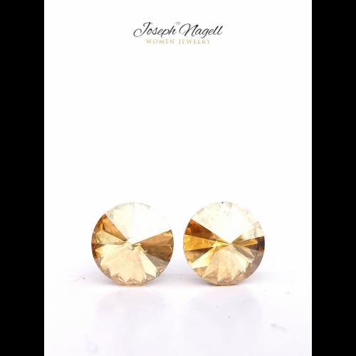 Rivoli fülbevaló 8mm arany színű Swarovski kristállyal