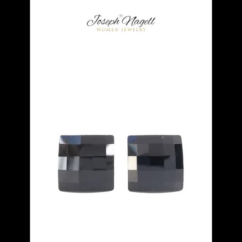 Sakktábla fülbevaló 8mm fekete Swarovski kristállyal