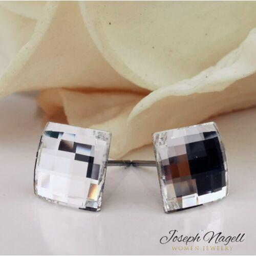 Sakktábla fülbevaló 8mm kristály színű Swarovski kristállyal