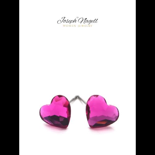 Cukiszív fülbevaló 6mm pink Swarovski kristállyal