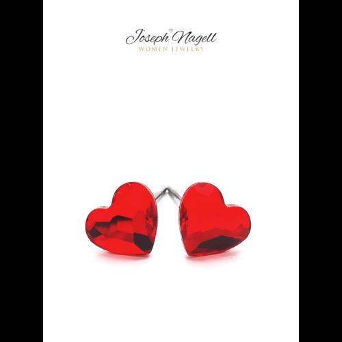 Cukiszív fülbevaló 6mm piros Swarovski kristállyal