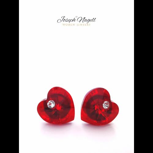 Szív fülbevaló pöttyel 12mm rubin színű Swarovski kristállyal