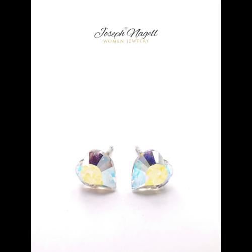Szív fülbevaló 6mm sarkifény színű Swarovski kristállyal