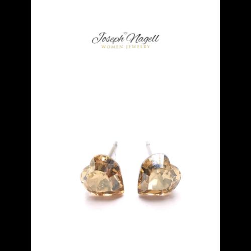Szív fülbevaló 6mm arany színű Swarovski kristállyal
